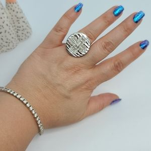 Sterling silver  Daisy round stripes ring